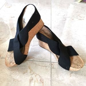 Lucky Brand cork wedge sandals black  crossover